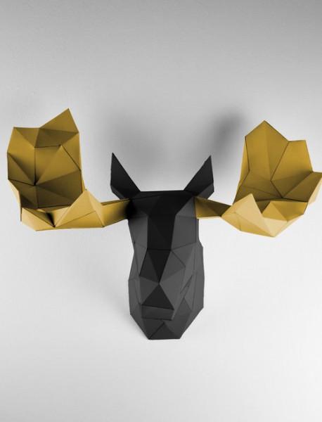 papercraft papierfigur Wandtrophäe elch geweih