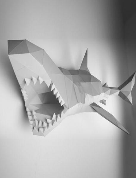 Papier Hai, Papercraft, Bastelbogen, Papertrophy, shark