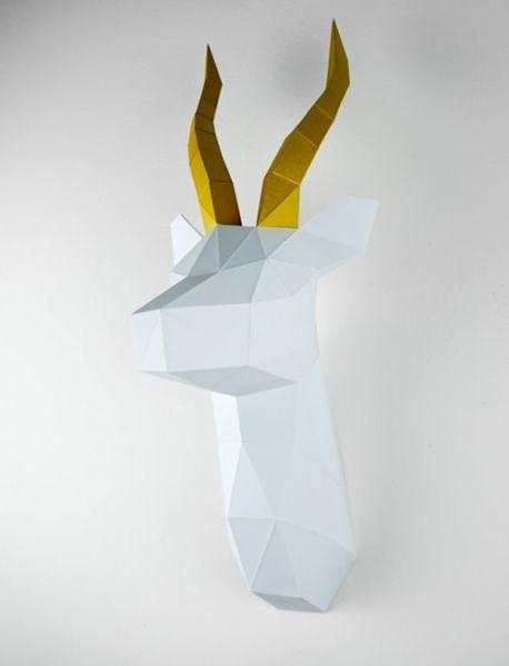 Antilope 3dorigami paperart low pols
